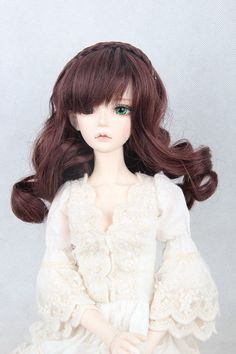 "New 1/3 BJD/SD Doll Wig High Temperature Silk Hair Dollfie 8-9"" Brown FBE059 in Dolls & Bears, Dolls, By Brand, Company, Character 
