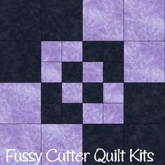 Amish Boxes Lavender Purple Black Fabric Easy Pre-Cut Quilt Blocks Top Kit Squares