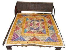 Amazon.com - Banjara Indian Bedspread Tapestry Mirrors Yellow Ivory Blue Throw $129.00