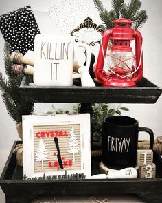Fun Friday the 13th tiered tray. Tray and mini letterboard from @feltcreativehome. #horrorfilms #tieredtraydecor #raedunn #fridaythe13th Follow me on IG @tonofraedunn. Halloween Displays, Friday The 13th, Horror Films, Trays, Letter Board, Crystals, Mini, Decor, Decoration