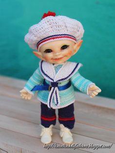 KasatkaDollsFashions: Морской наряд для маленьких кукол крючком (BJD Realpuki)