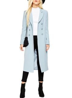 Azbro Women's Notch Lapel Double Breasted Long Trench Coat