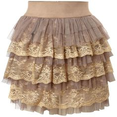 Jolie Moi Lace layered skirt ($17) ❤ liked on Polyvore featuring skirts, bottoms, saias, jupes, brown, women, short tiered skirt, short lace skirt, brown skirt and lace skirt