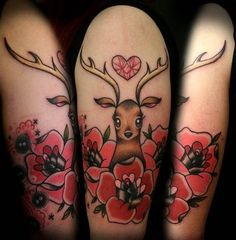 Prettiest little deer - saw this in a tattoo magazine the other day! i looove this!