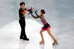 Individual Champions Mao Asada and Daisuke Takahashi of Japan dance together during the Gala Exhibition during the 2010 ISU World Figure Skating. Roller Skating, Ice Skating, Gym Leotards, World Figure Skating Championships, Figure Skating Dresses, Training Tips, Skate, Cosplay, Dance