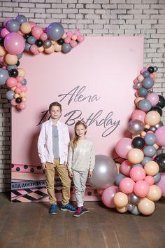 Розовые серые бежевые шары арка детский праздник идея для девочки|Pink grey beige balloon arch kids party ideas girl