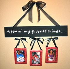 my mom would need four pics DIY Picture Frame Wall Hanging! This is actually really easy (and cheap) to make. Perfect gift for grandparents, Mother's Day, or a housewarming gift. Diy Christmas Gifts, Holiday Crafts, Home Crafts, Christmas 2015, Homemade Christmas, Kids Crafts, Craft Gifts, Diy Gifts, Scrap