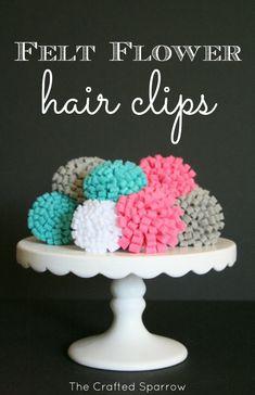 Super CUTE and EASY Felt Flower Hair Clips on { lilluna.com }