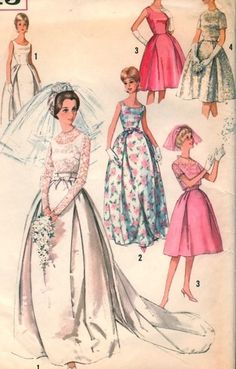 Wedding Dress Pattern bride 60s bridesmaid pink floral white lace satin cocktail evening formal long short knee gown