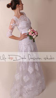 Wedding dress / V neck front /Recepion/ long lace dress/ Bridal Gown by UpToDateFashion on Etsy