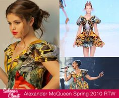 When the Case-Mate 'Right Case, Right Occasion' behind the scenes video came out we caught a glimpse of Selena Gomez donning a colorful printed dress. We're starting to wish we got to see more of her in this dress, because it is from the Alexander McQueen Spring 2010 collection!  This dress is from McQueen's last Spring collection before his passing, and has also recently been worn by Monica Brown at the 2012 BET Awards.  Check out Selena working this dress at 1:45!