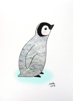 Baby Penguin Illustration Print Cute Penguin Drawing by mikaart