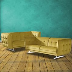 This modern tuxedo 2 piece set, which includes a sofa and loveseat, adds a bit of retro style that makes a statement with its solid wood construction, comfortable yellow upholstery, PVC foam fill and chrome plated legs that will make this set tough to leave. Sofa And Loveseat Set, Couch, Modern Tuxedo, Living Room Sets, Wood Construction, Chrome Plating, Contemporary Furniture, Retro Style, Retro Fashion