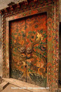 colorful Tibetan doors