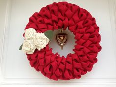 Red Burlap Wreath with Ivory Burlap Rose by TheCraftySugarsnip, $50.00