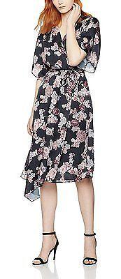 Small, Black (Black Mix), FIND Women's Floral Kimono Midi Dress NEW