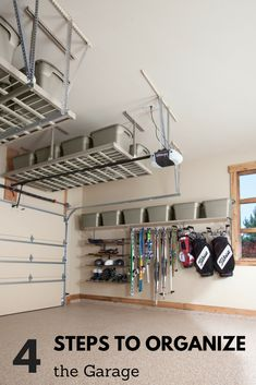 4 steps to organize the garage- 4 Schritte zum Organisieren der Garage 4 steps to organize the garage - Garage Organization Tips, Garage Storage Shelves, Garage Storage Solutions, Diy Storage, Storage Ideas For Garage, Shop Storage, Attic Storage, Building Shelves In Garage, How To Organize Garage