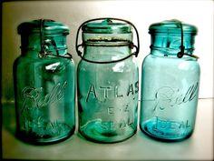 Studio Swede 13...Vintage Photography, Old Mason Jars, Nostalgia, Art Print, Turquoise, Aqua, Shabby, Farmhouse, Rustic, Kitchen Decor, Cottage, Wall Decor.
