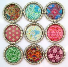 Bottle Cap Magnets - Bohemian Patterns - Set of 9 Flattened Bottle Cap Magnets. $12.50, via Etsy.