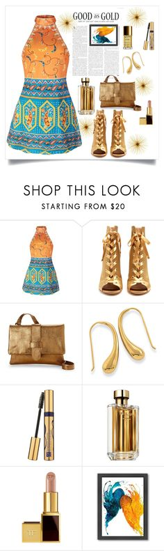 """Good as gold"" by puljarevic ❤ liked on Polyvore featuring Gianvito Rossi, Corsia, Estée Lauder, Prada, Tom Ford, Americanflat and NYX"