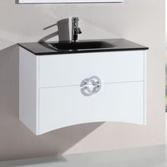 Legion Furniture Single Vanity Set with Mirror Base finish: White Vanity Wall Mirror, Mirror With Shelf, Vanity Set With Mirror, Wall Mounted Vanity, Vanity Cabinet, Vanity Sink, Best Bathroom Vanities, Single Bathroom Vanity, Wall Mounted Bathroom Cabinets