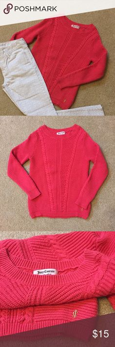 "Juicy Couture Coral Orange Cable Knit Sweater Juicy Couture Coral Orange Cable Knit Sweater. Has v Cable design on front and back. Size S measures: 14"" across shoulders, 16"" across chest, 23"" long, 22"" sleeve. 55% cotton, 20% viscose, 18% polyamide, 7% rabbit hair. Very thick, warm, comfy sweater. 1216/200/11917 Juicy Couture Sweaters Crew & Scoop Necks"