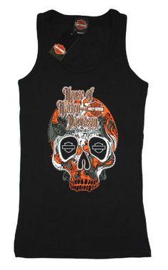 House of Harley-Davidson® Women's Harley-Davidson® Sugar Black Skull 100th Anniversary Tank T-Shirt. House of Harley-Davidson® Graphics on Back. Black. Tee. 302962650 | bikeraa.com