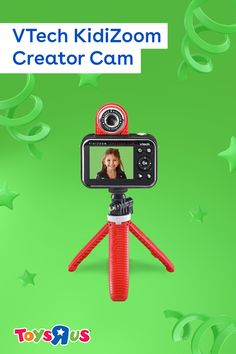 Anndd action! The VTech KidiZoom Creator Cam films their masterpieces and gives them all the tools they need to really make 'em shine! Use the tripod to find the perfect shot, green screen to make movie magic and editing tools to make it just perfect!