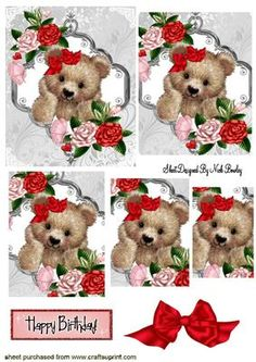 FUZZY BEAR WITH RED BOW AND ROSES PYRAMIDS on Craftsuprint - Add To Basket!
