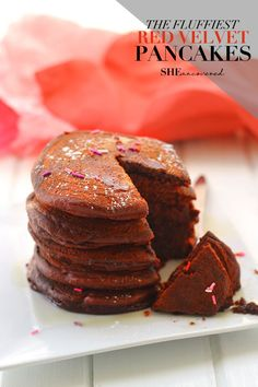 The Fluffiest Red Velvet Pancakes make an easy and delicious Valentine's Day breakfast to show your sweetheart just how much you love them.