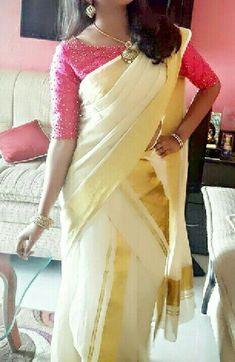 Kerala Saree Blouse Designs, Saree Blouse Neck Designs, Simple Blouse Designs, Saree Blouse Patterns, Bridal Blouse Designs, Onam Saree, Kasavu Saree, Set Saree Kerala, Boat Neck Saree Blouse