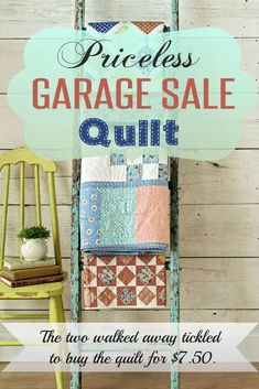 Imagine browsing a random garage sale when you recognize something that had… Garage Sale Tips, Storage Auctions, Yard Sale, Ladder Decor, Quilts, Antiques, Oklahoma City, Kids, Corner