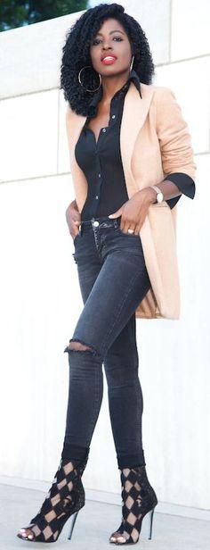 Tan Cocoon Blazer Fall Streetstyle Inspo #Style Pantry