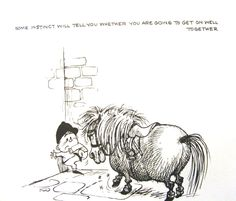 Some instinct will tell you whether you will get on well together.......Thelwell Vintage Art Print A Leg At Each Corner Riding Horse Pony Children #Vintage