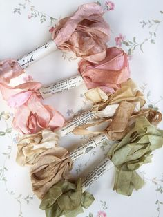 Marie Antoinette pastel ribbon set of Ribbon set of Marie Antoinette colors for scrapbookers and sewers. Needlework and embroidery too - Maggie Farm - French Silk Ribbon Embroidery, Hand Embroidery, Embroidery Designs, L'art Du Ruban, French Colors, Pastel, Ribbon Art, Ribbon Flower, Passementerie