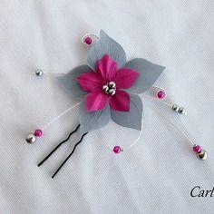 Carline - bijou cheveux pic mariage fleur en soie fushia et gris