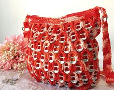 Bright Orange Soda Tab Purse Crochet Purse Patterns, Crochet Purses, Pop Tab Crafts, Soda Tabs, Orange Soda, Box Tops, Etsy, Crafty, Crocheted Bags