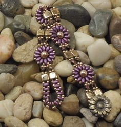 SUPERDUO CZECHMATE TILE Flower Bracelet-Purple Velvet SuperDuo Beaded Flower-Bronze Tiles-Dark Bronze Fire Polish-Bronze Seed Beads-(SD73) by CinfulBeadCreations on Etsy