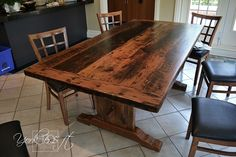 6.5 ft York Reclaimed Wood Trestle Table - Ontario Barn Wood Construction – Modern Premium epoxy/matte polyurethane finish   Posted by Gerald Reinink, Design & Sales, Cambridge, Ontario Copyright HD Threshing Floor Furniture / www.hdthreshing.com