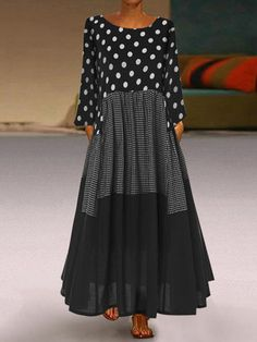 General Vacation Dresses Black Polyester Casual Round Neckline Long Sleeve Maxi A-line Dress Fall S Winter M Polka Dot L XL XXL Dress color:Black Polka Dot Maxi Dresses, Plus Size Maxi Dresses, Dot Dress, Casual Dresses, Summer Dresses, Dress Shoes, Casual Outfits, Summer Maxi, Vacation Dresses