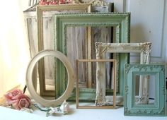 Antique Cream and Mint Green Open Frame Set, Cottage Chic Ornate Frames, Gold Frame, Distressed Frame set, Large Frames