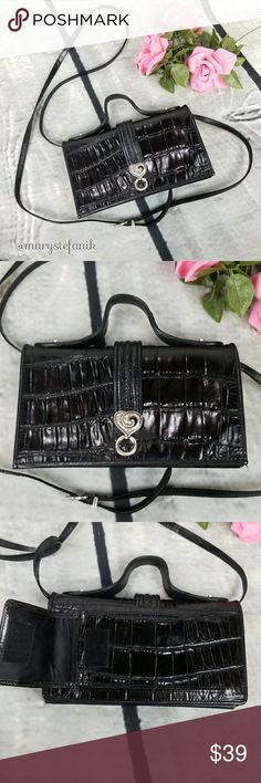 """Brighton Black Organizer Crossbody Clutch Purse Brighton Black Organizer Crossbody Clutch Purse in great used condition. Some minor marks from use. Measures 8"""" x 4"""". The strap is removable. No fraying or holes. Great little organizer!  Please let me know if you have any questions. Happy Poshing! Brighton Bags Crossbody Bags"""