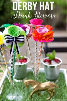 DIY Whimsical Derby Hat Drink Stirrers and Raspberry Mint Julep recipe for your Kentucky Derby party Cowboy Party, Horse Party, Horse Racing Party, Derby Recipe, Smoothie, Derby Horse, Race Party, Golf Party, Run For The Roses