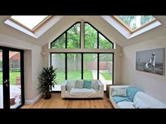 Large fixed windows complete with shaped gable windows create a bright and open living space Bungalow Extensions, Garden Room Extensions, House Extensions, House Extension Plans, House Extension Design, House Design, Living Room Extension Ideas, Conservatory Interiors, Gable Window