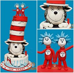 """The Sweetery on Instagram: """"""""Cat in the Hat"""" cake for Pio Grant's 1st birthday! #thesweeteryph #cake #cakeporn #cakestagram #birthdaycake #catinthehat #catinthehatcake #drseuss #thing2 #thing1 #fondant"""" Dr Suess Cakes, Hat Cake, Fondant, Birthday Cake, Disney Characters, Cats, Instagram Posts, Gatos, Birthday Cakes"""