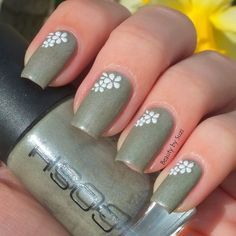 GOSH Nail Lacquer, 604 Fossil Grey + flower stickers  #beautybysuzi #gosh #nails #nailart - bellashoot.com