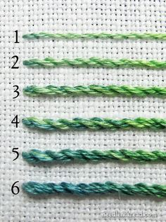 Embroidery Stitches Tutorial When using stranded cotton embroidery floss, stitch weight – or the heaviness or lightness of stitch – changes with the number of strands used. Embroidery Designs, Embroidery Stitches Tutorial, Embroidery Needles, Silk Ribbon Embroidery, Crewel Embroidery, Hand Embroidery Patterns, Embroidery Techniques, Embroidery Thread, Cross Stitch Embroidery