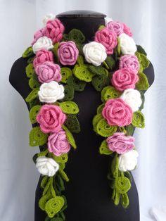 Как вязать цветочный шарф крючком. Часть 2.Урок вязания.