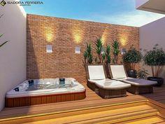 Small Backyard Patio, Backyard Patio Designs, Backyard Pools, Pool Decks, Hot Tub Backyard, Jacuzzi Outdoor, Outdoor Spa, Modern Landscaping, Pool Landscaping