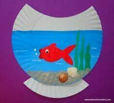 Cute paper plate fish bowl craft for kids Paper Plate Art, Paper Plate Fish, Paper Plate Crafts, Paper Plates, Daycare Crafts, Classroom Crafts, Toddler Crafts, Crafts For Kids, Ocean Crafts